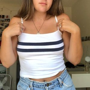 Brandy Melville White Tank with Two navy stripes